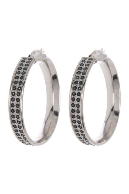 Image of Best Silver Inc. Sterling Silver 35mm Polka Dot Glitter Hoop Earrings
