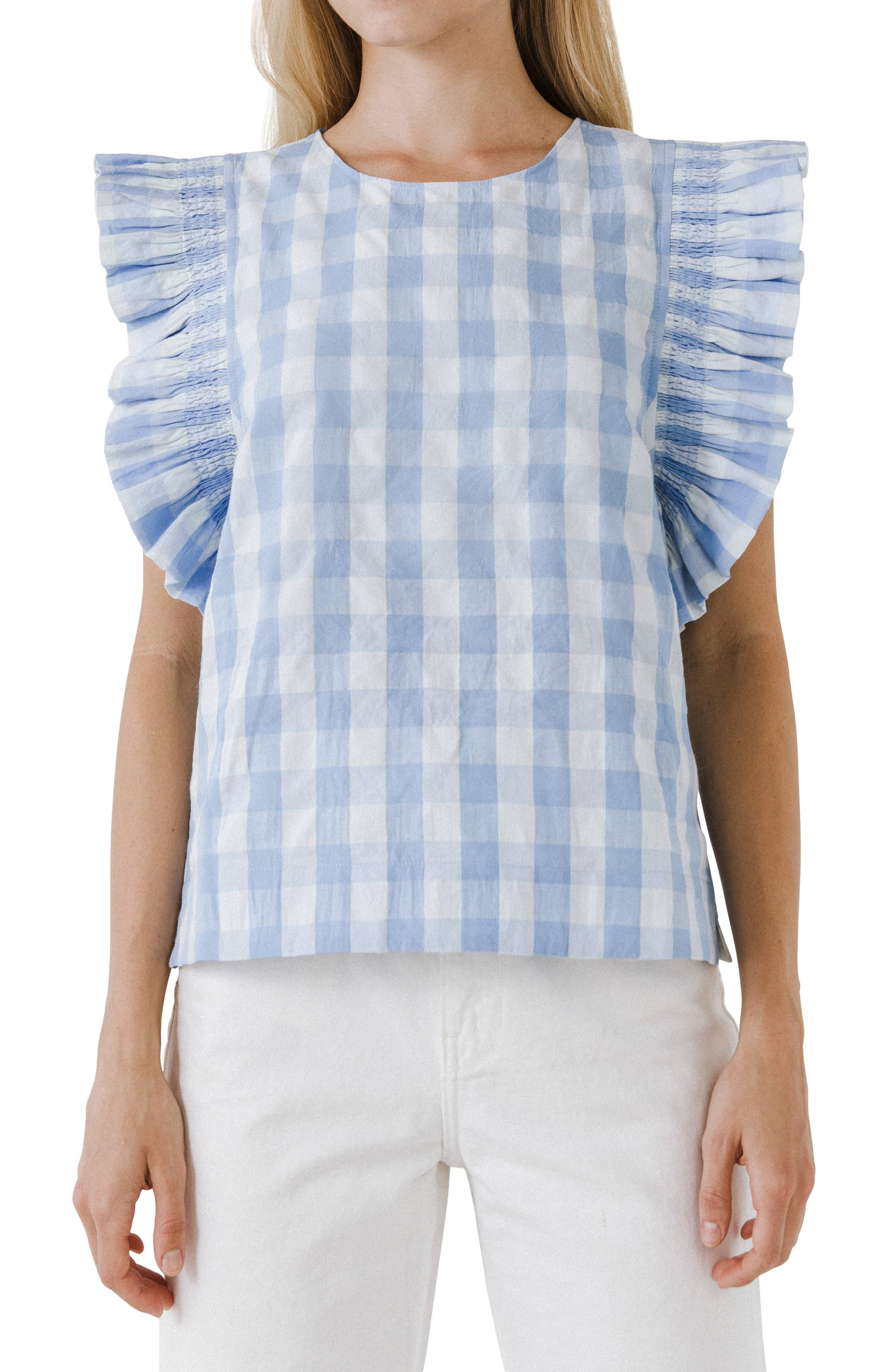 Gingham Ruffle Sleeve Top