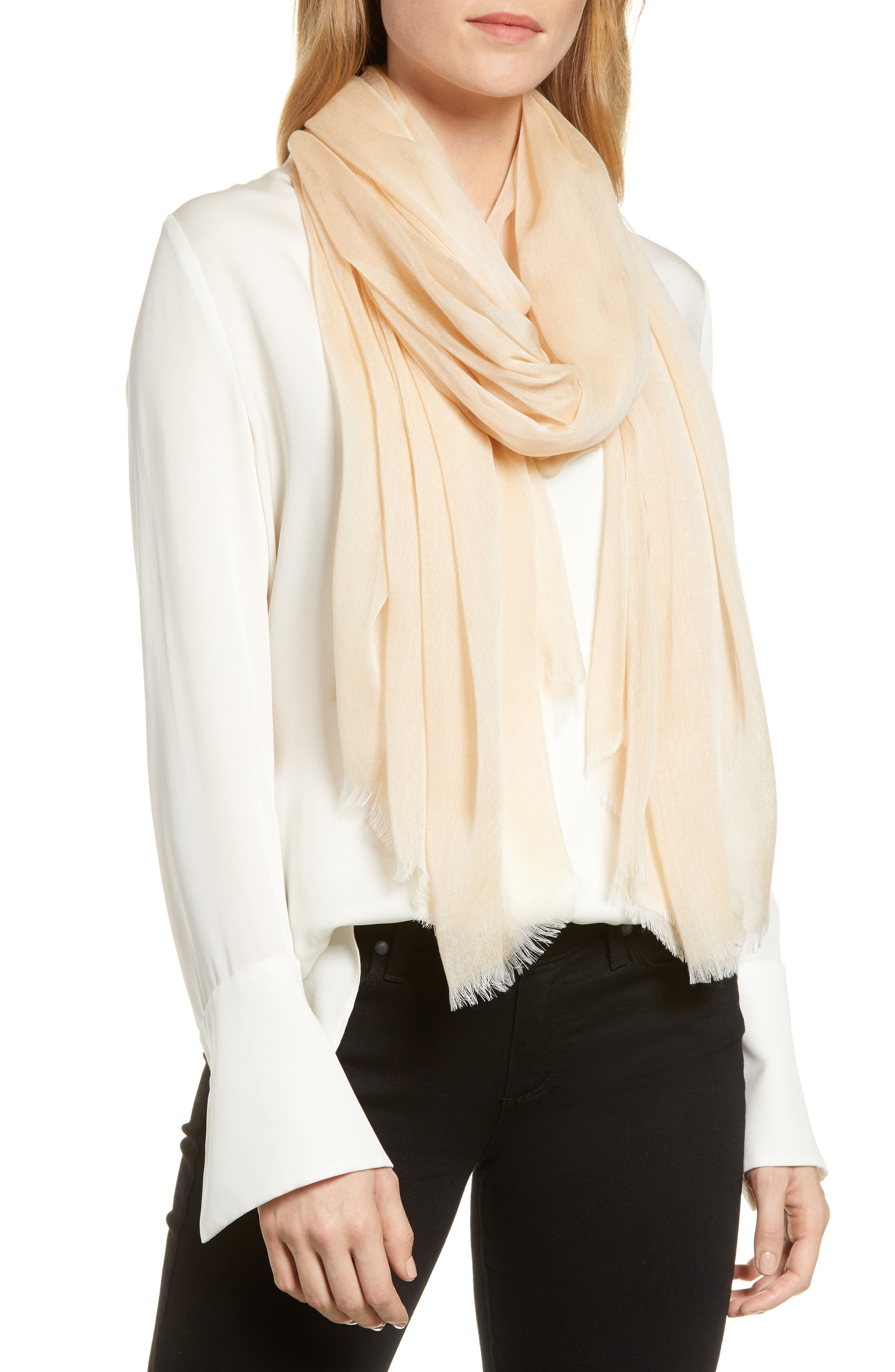 ,                             Modal Silk Blend Scarf,                             Main thumbnail 1, color,                             BEIGE BISCUIT