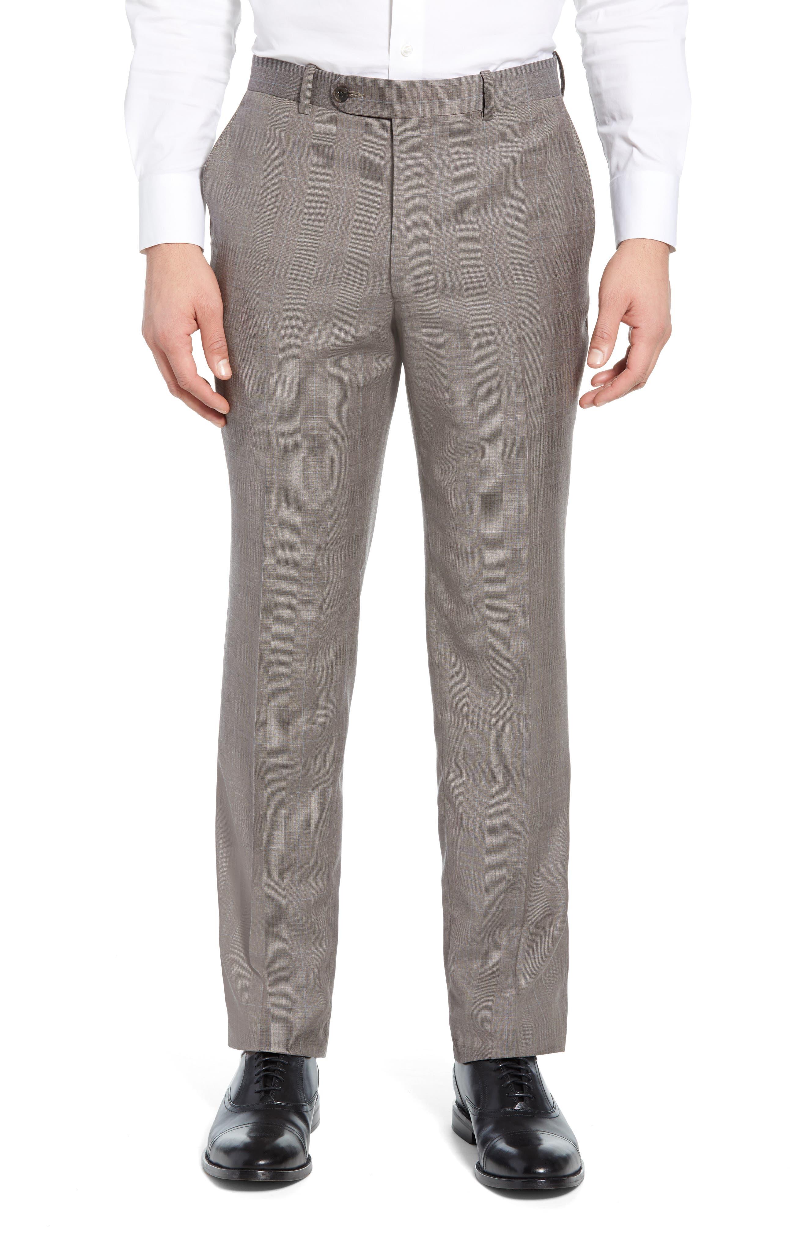 ,                             Flynn Classic Fit Windowpane Wool Suit,                             Alternate thumbnail 6, color,                             TAN