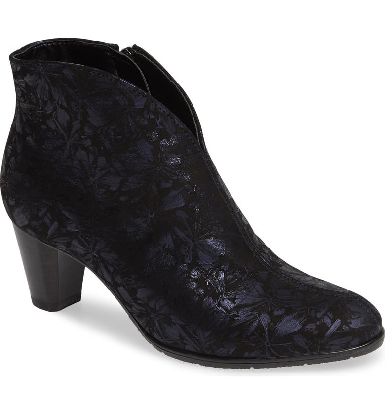ARA Tricia Bootie, Main, color, BLUE DRAGONFLY EMBOSSED FABRIC