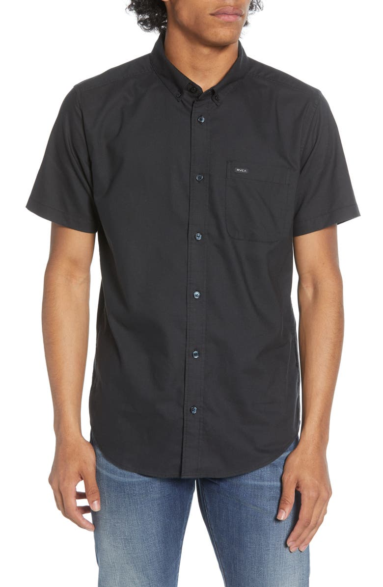 RVCA That'll Do Solid Short Sleeve Button-Down Shirt, Main, color, 001