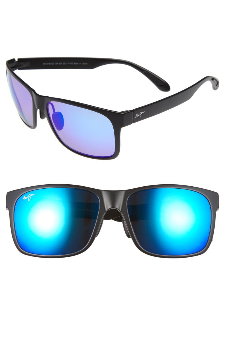 MAUI JIM Red Sands Polarized 59mm Sunglasses, Main, color, MATTE BLACK/ BLUE HAWAII