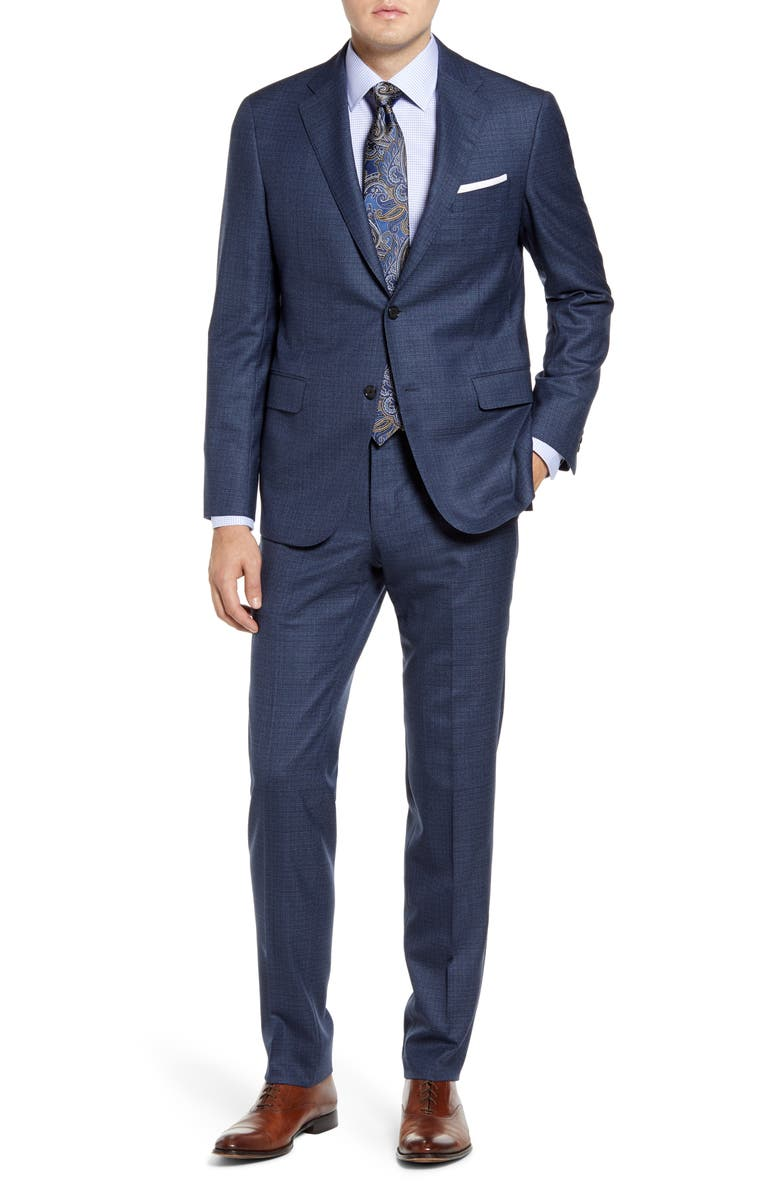 HICKEY FREEMAN Modern H Fit Check Wool Suit, Main, color, BLUE