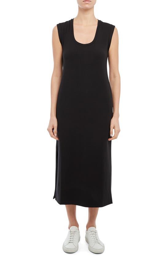 Theory Scoop Neck Pima Cotton & Modal Blend Tank Dress In Black