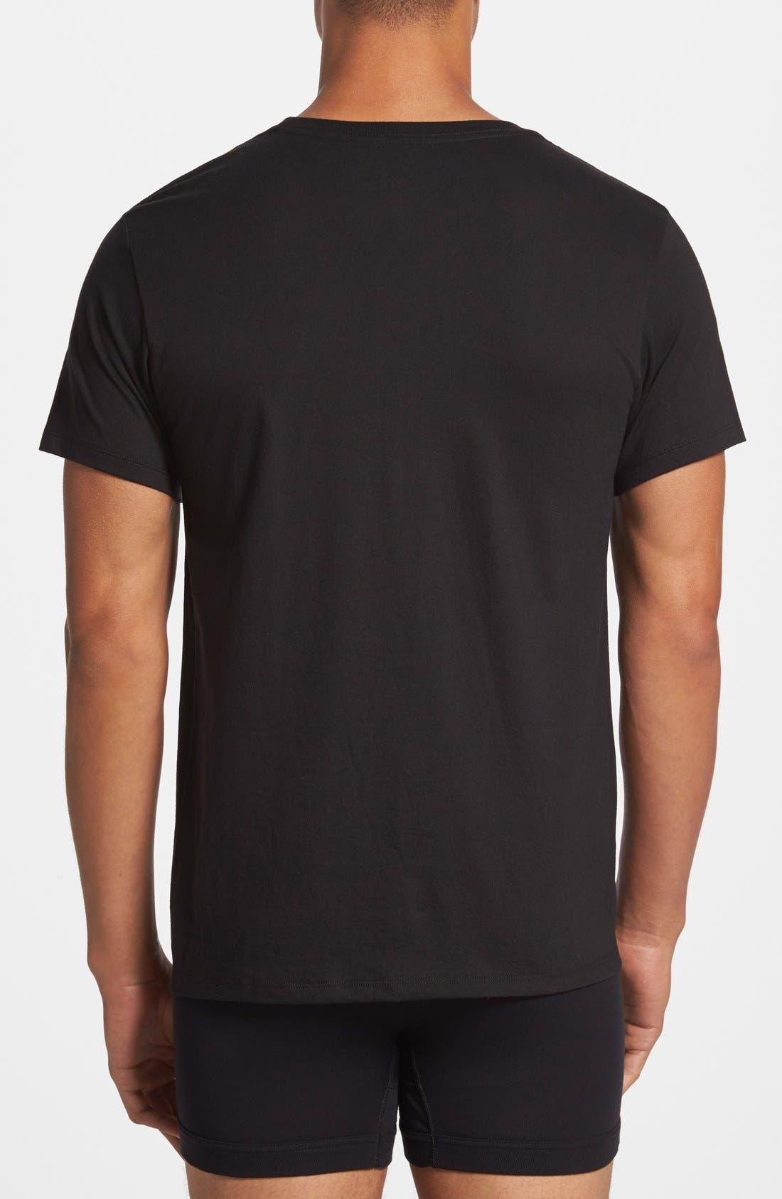 ,                             3-Pack Cotton T-Shirt,                             Alternate thumbnail 3, color,                             BLACK