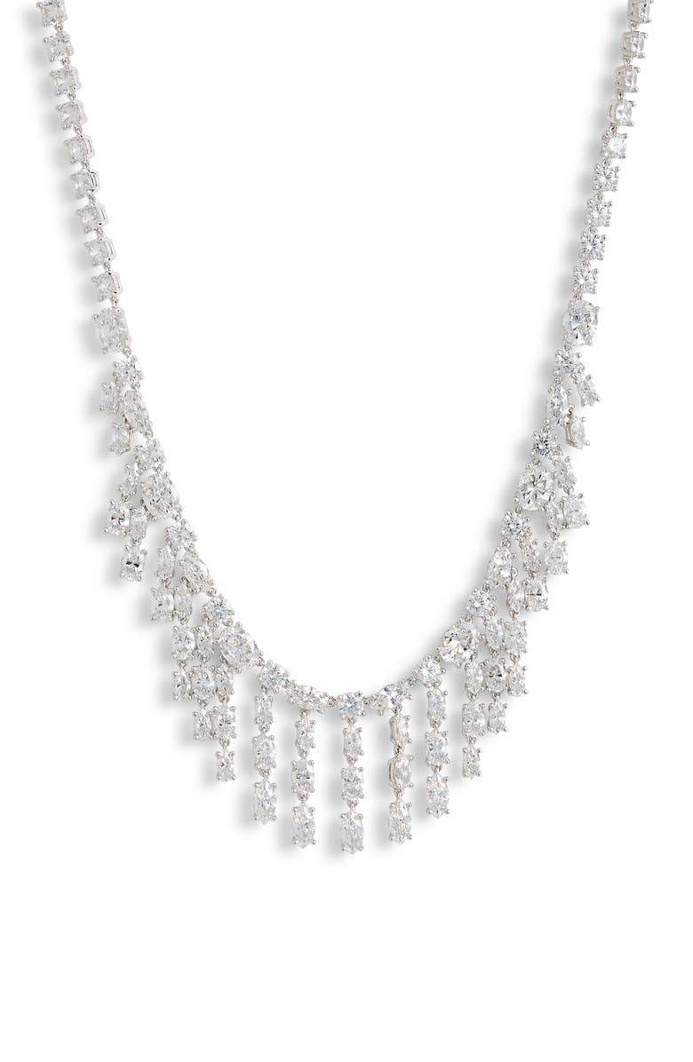 NORDSTROM Cubic Zirconia Fringe Necklace, Main, color, 040