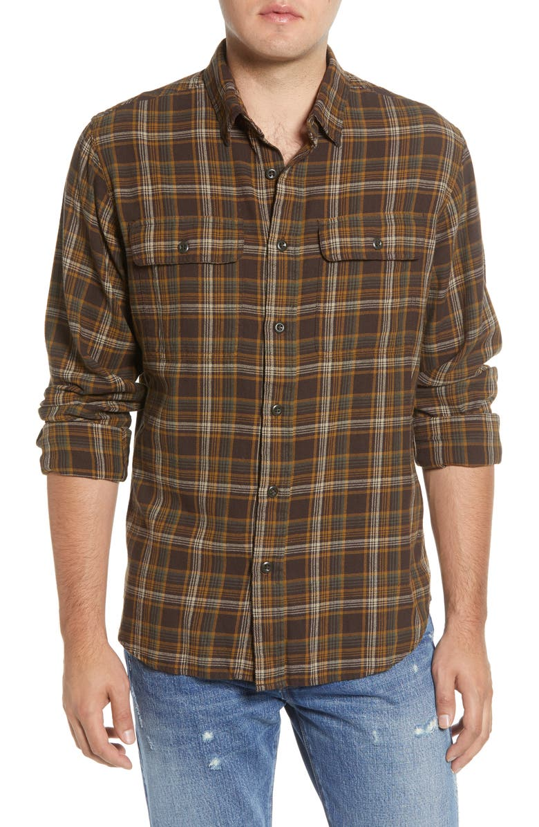 FILSON Scout Plaid Sport Shirt, Main, color, BROWN TAN OTTER