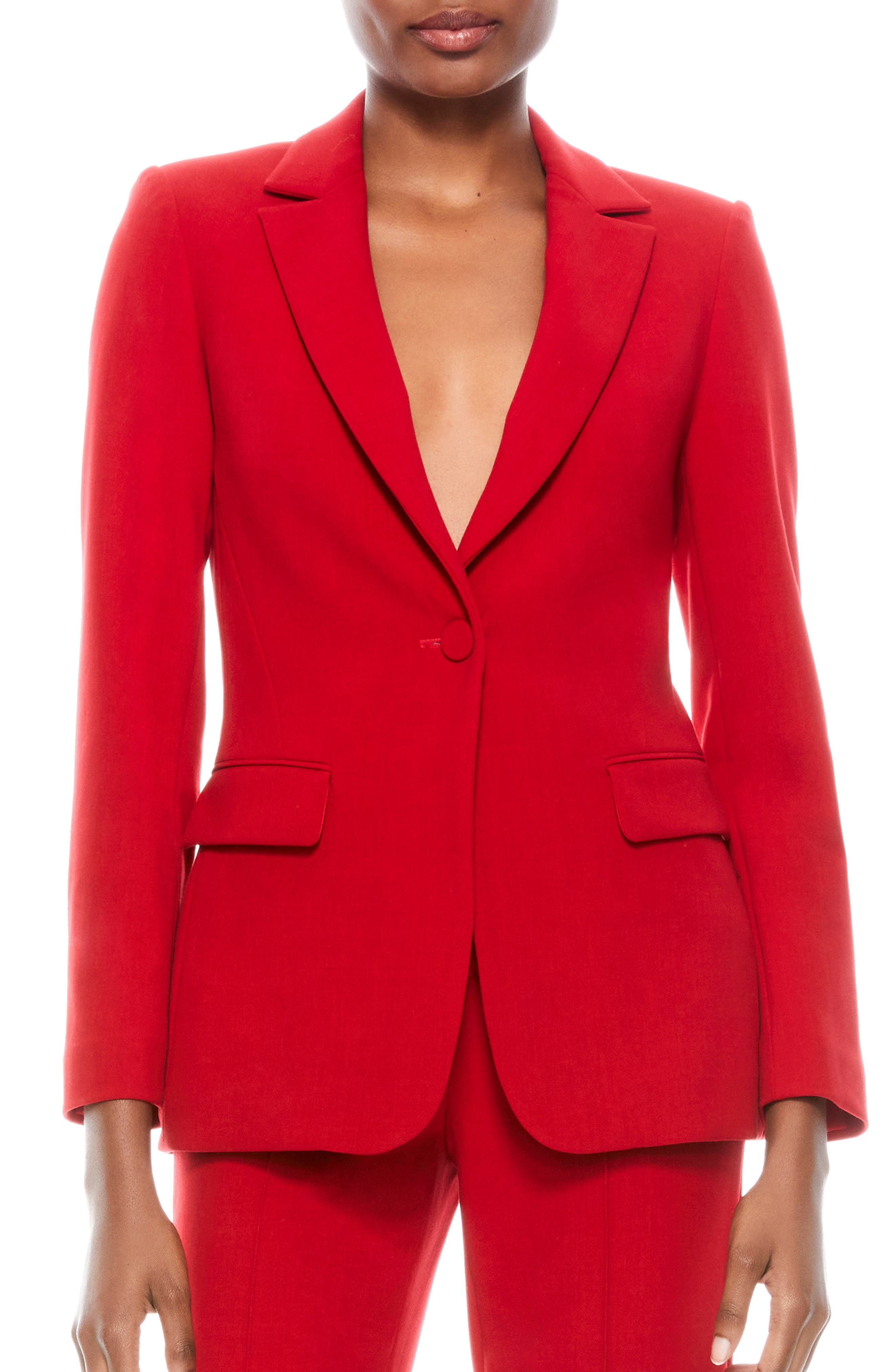 This ruby-red blazer is tailored with a fitted waist, giving the working-girl staple that extra bit of feminine charm. Style Name: Alice + Olivia Macey Fitted Blazer. Style Number: 6097746. Available in stores.