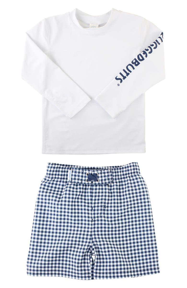 RUGGEDBUTTS Two-Piece Rashguard Swimsuit, Main, color, WHITE