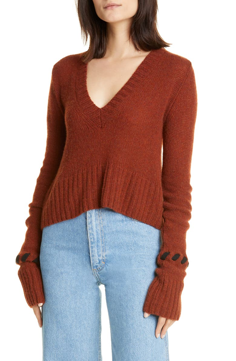 KHAITE Oliver Whipstitch Cuff Cashmere Sweater, Main, color, MAHOGANY/ BLACK