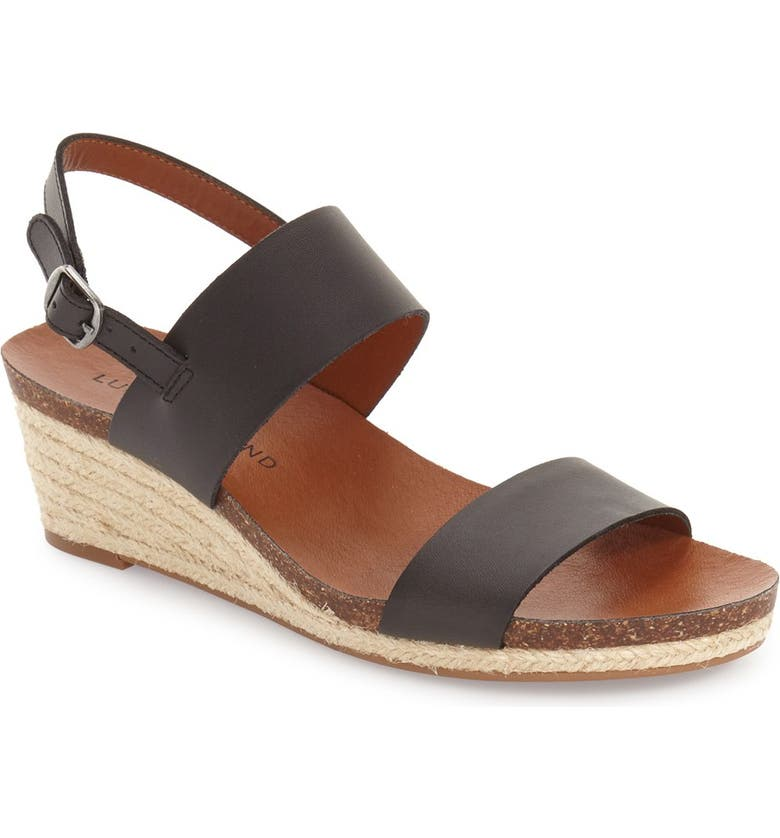 LUCKY BRAND 'Jette' Wedge Sandal, Main, color, 001