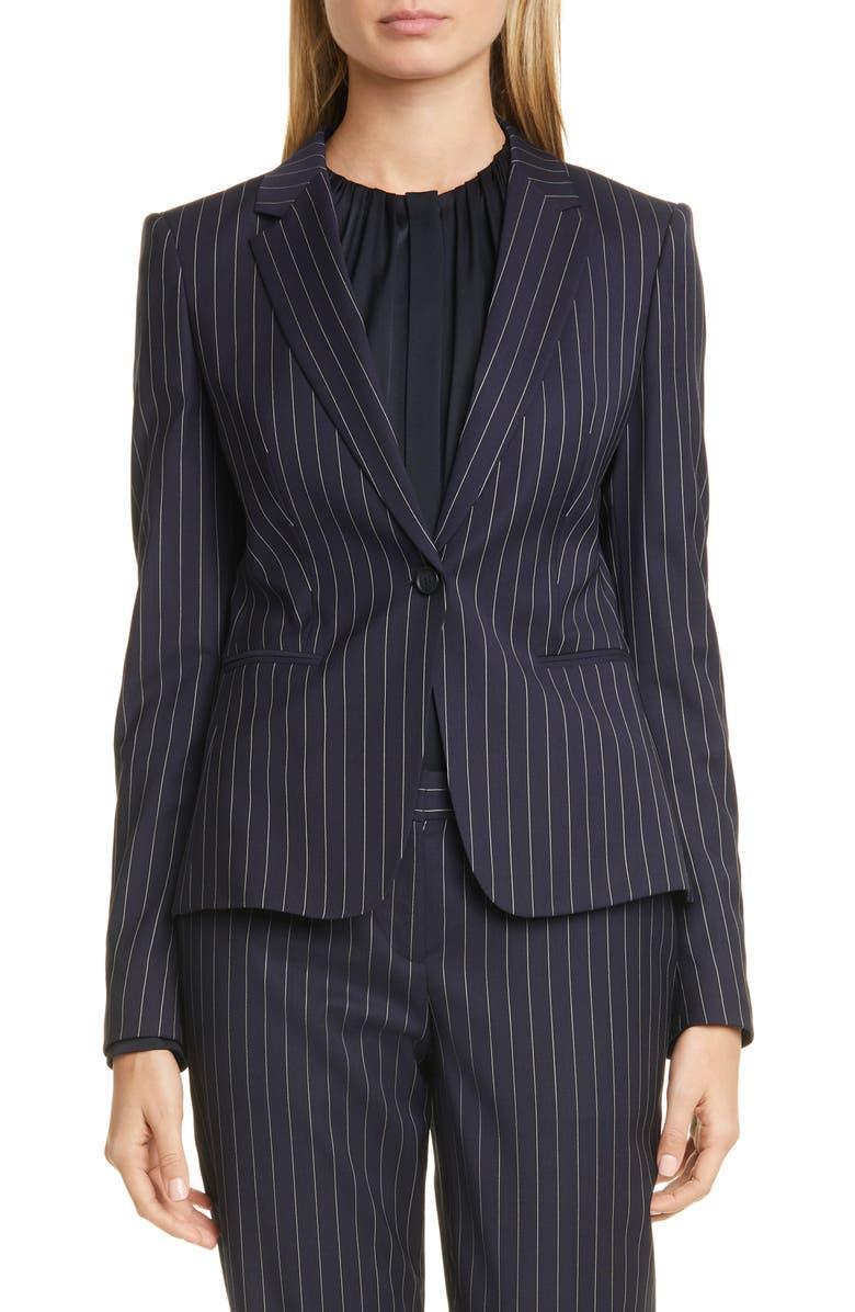 BOSS Jaxtina Stretch Wool Pinstripe Jacket, Main, color, 001