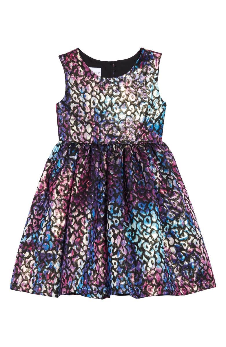 FRAIS Metallic Jacquard Fit & Flare Dress, Main, color, BLACK