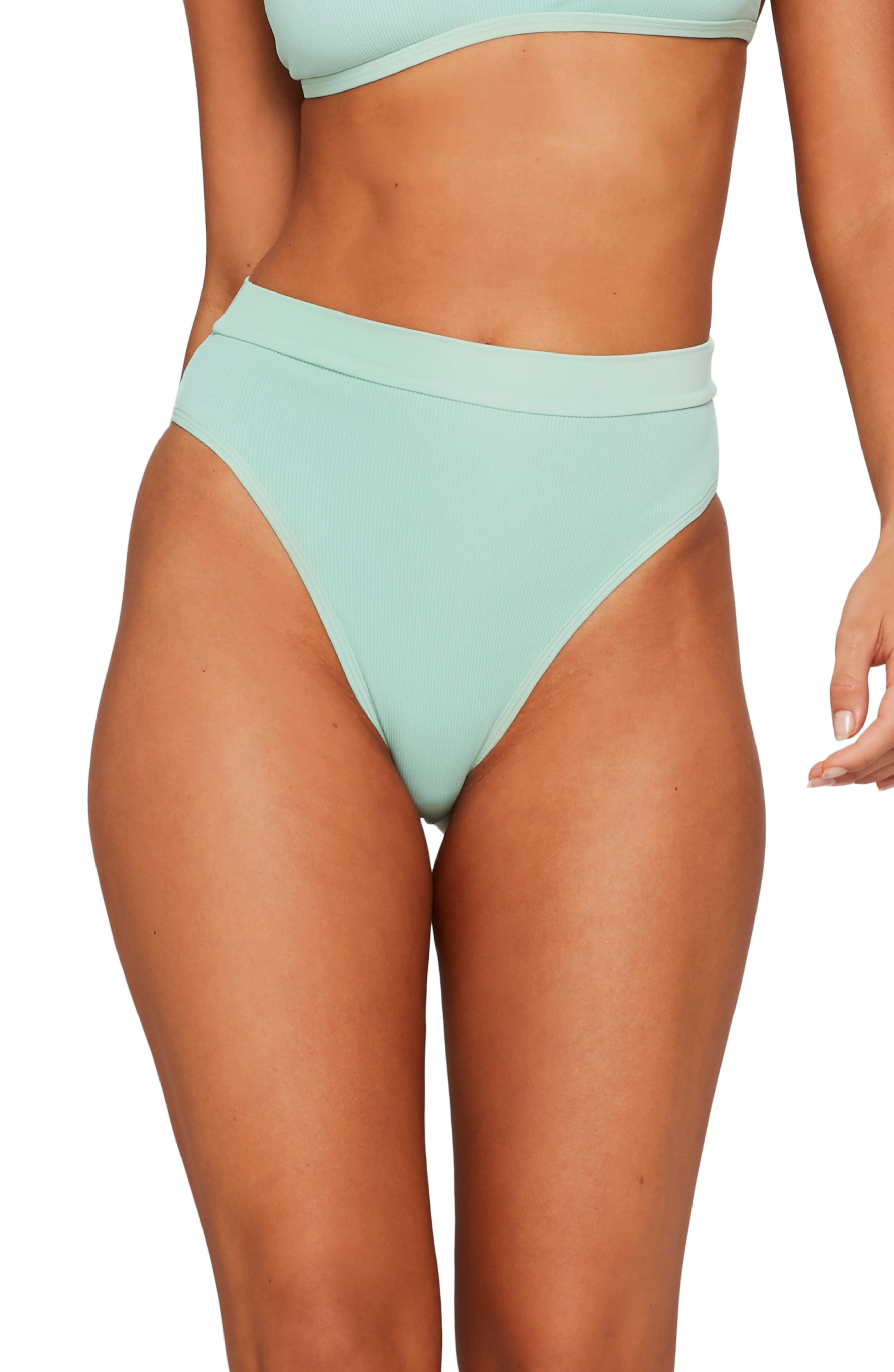 L Space French Cut High Waist Textured Swim Bottoms, Green