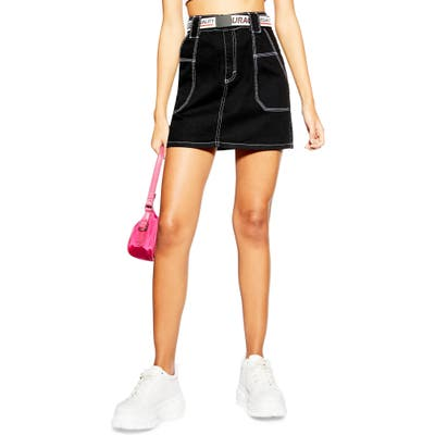 Topshop Contrast Stitch Utility Skirt, US (fits like 10-12) - Black