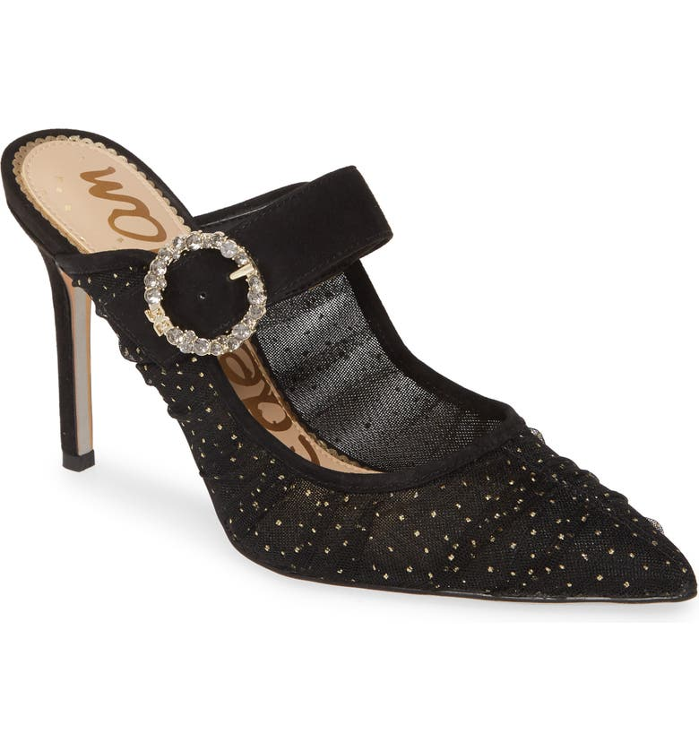 SAM EDELMAN Halo Mule, Main, color, BLACK/ GOLD FABRIC