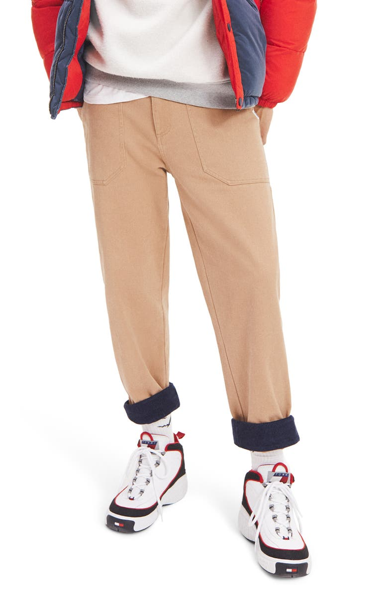 TOMMY JEANS TJM Turn Up Straight Leg Cargo Pants, Main, color, BROWN