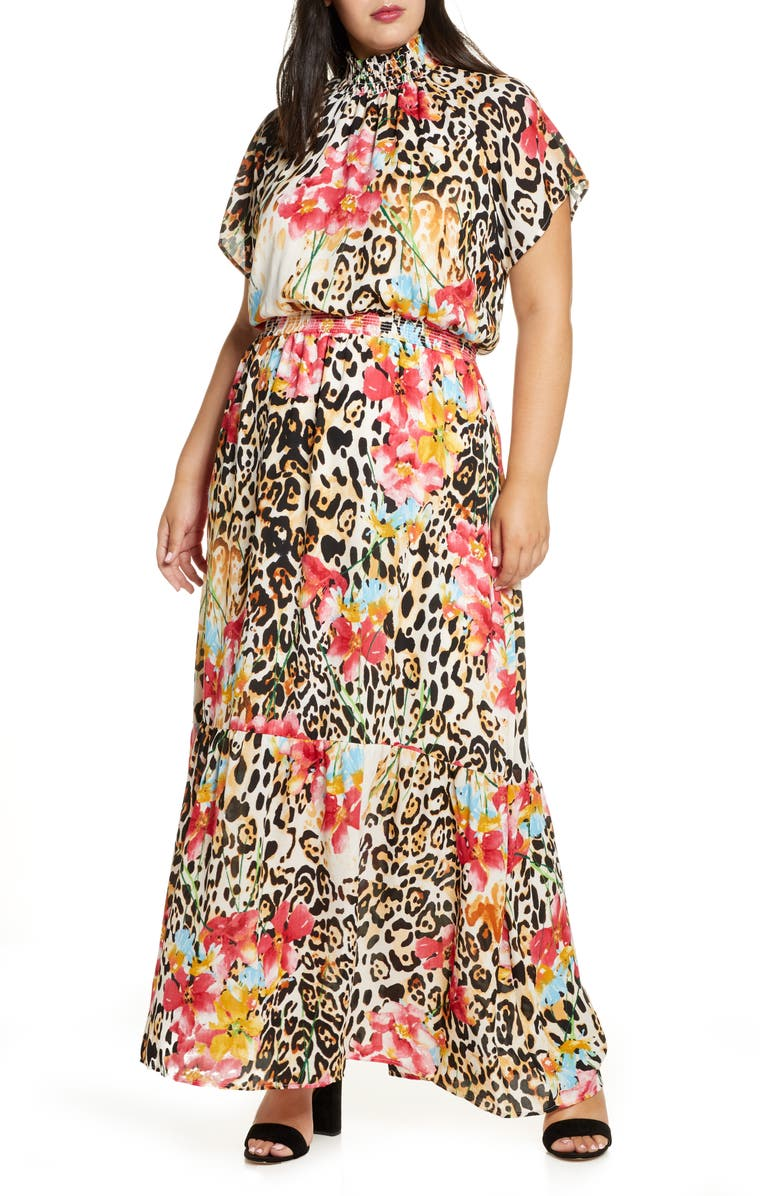 GIBSON x City Safari Jaime Shrayber Smock Neck Maxi Dress, Main, color, WILD FLOWER