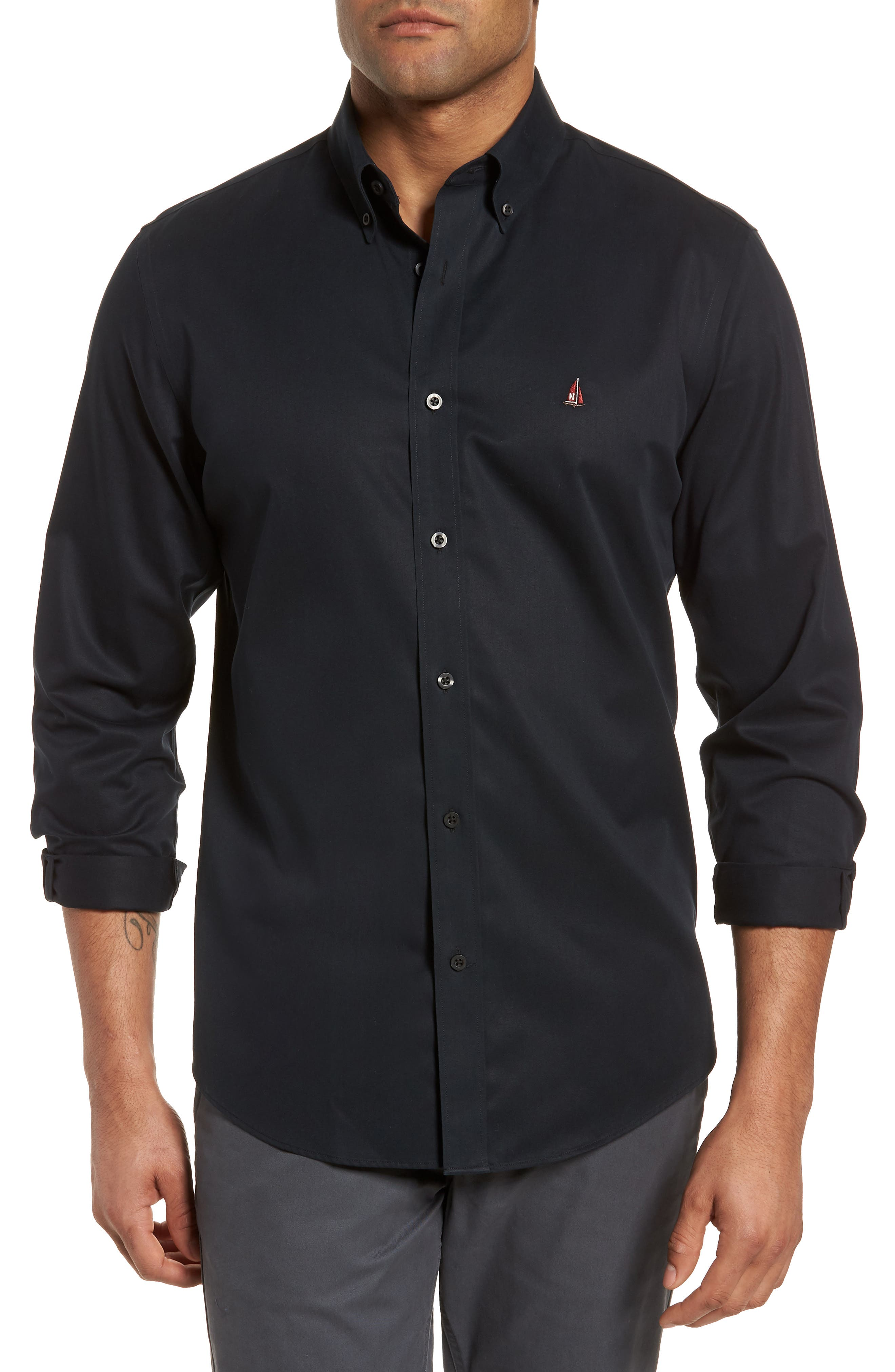 ,                             Smartcare<sup>™</sup> Traditional Fit Twill Boat Shirt,                             Main thumbnail 1, color,                             BLACK
