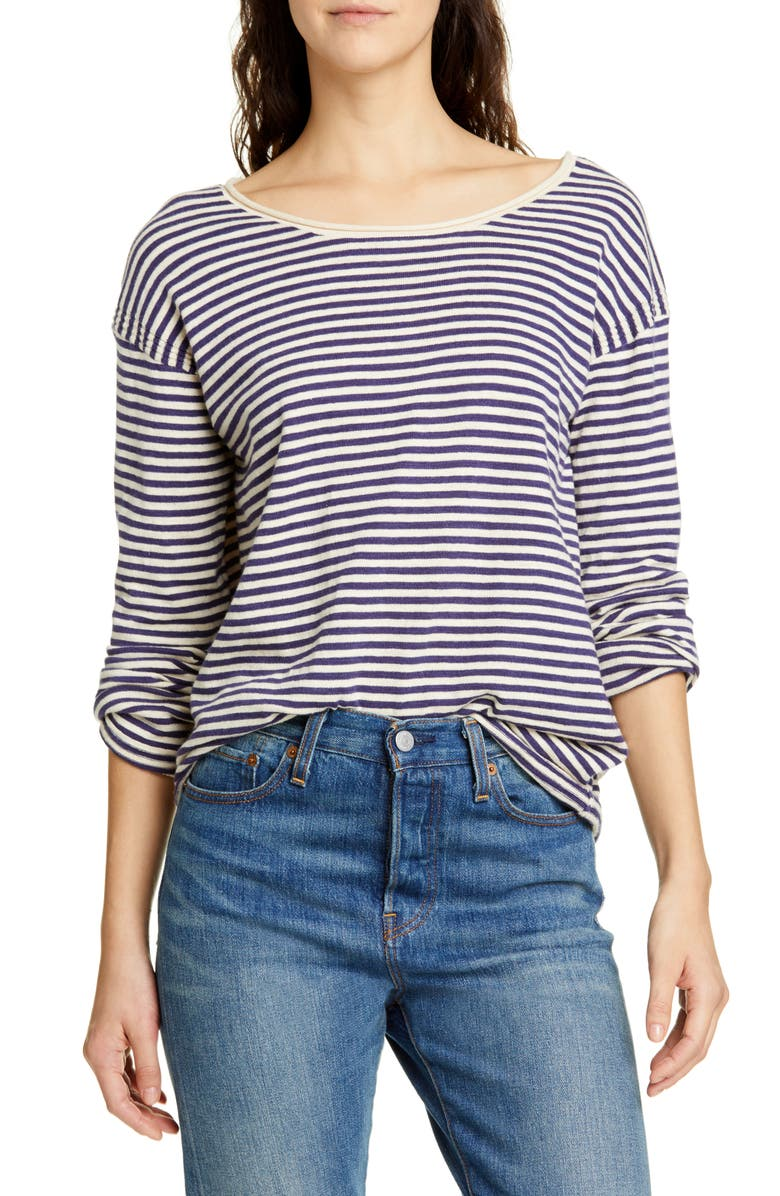 ALEX MILL Roll Neck Stripe Sweater, Main, color, NATURAL/ NAVY
