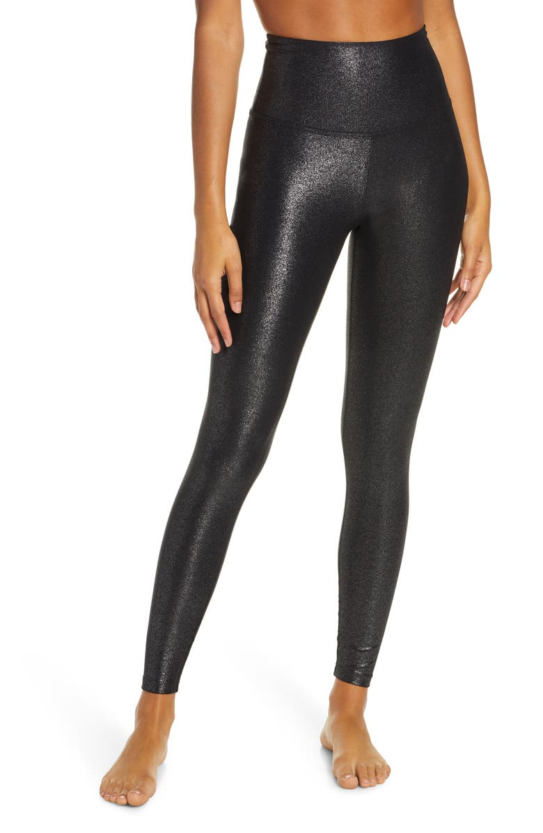 BEYOND YOGA Twinkle High Waist Leggings, Main, color, BLACK-SILVER TWINKLE