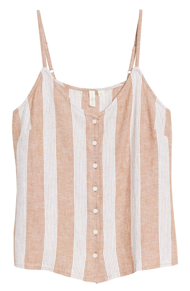 TREASURE & BOND Button Front Camisole, Main, color, TAN LION MERYL STRIPE