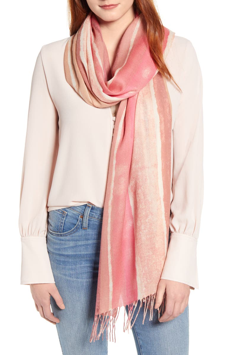 NORDSTROM Tissue Print Wool & Cashmere Wrap Scarf, Main, color, PINK SUN STRIPE PRINT