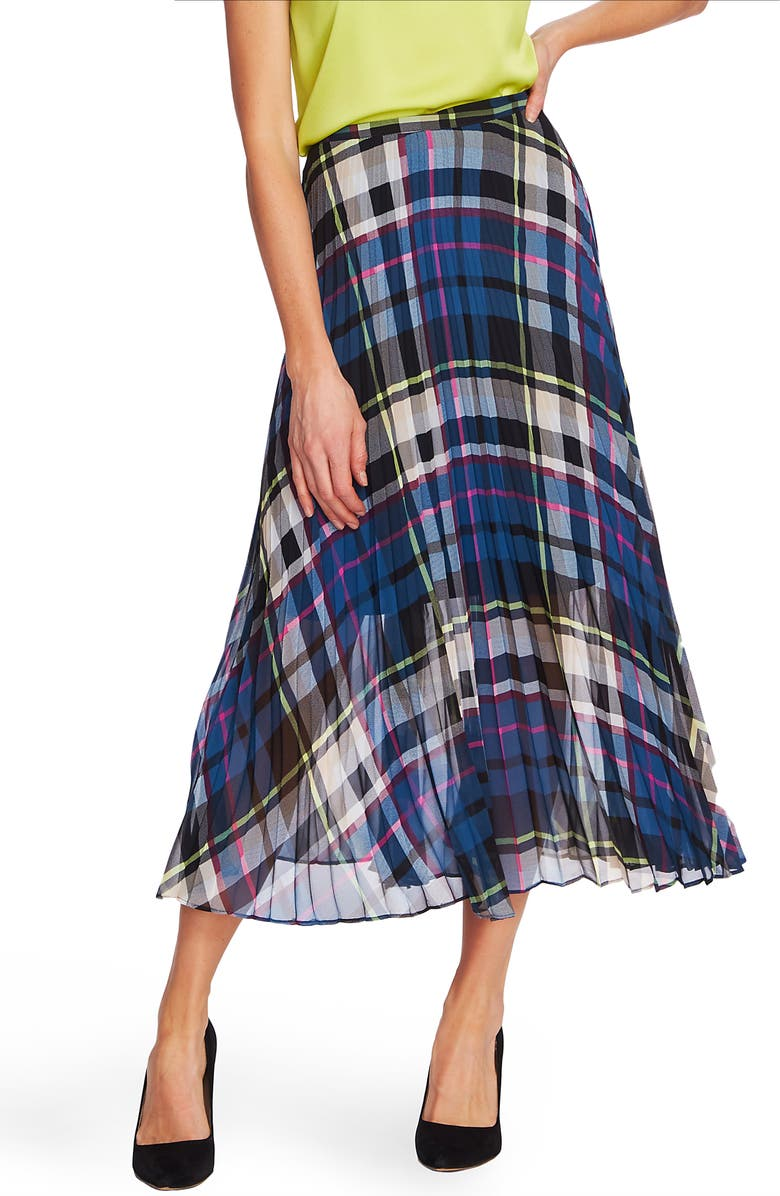 VINCE CAMUTO Pleated Plaid Midi Skirt, Main, color, DEACON BLUE