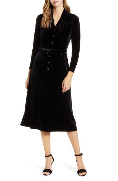 Anne Klein Dresses LONG SLEEVE STRETCH VELVET MIDI DRESS
