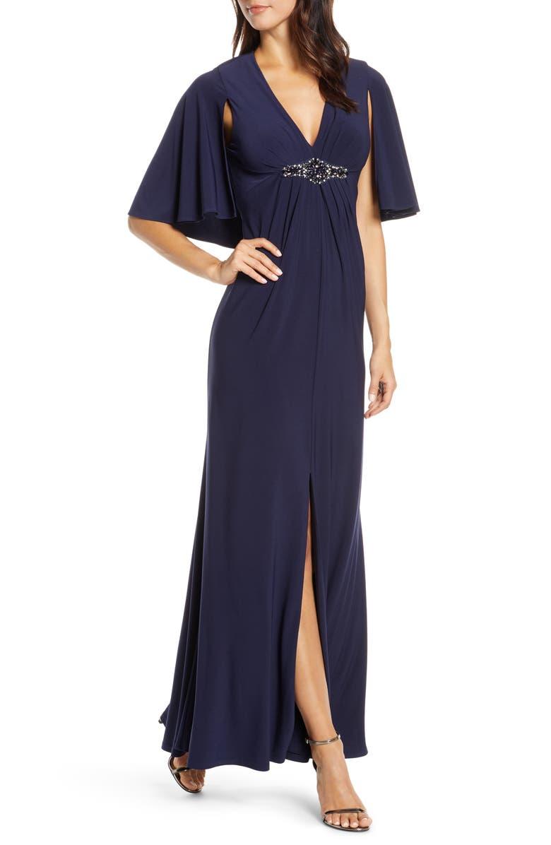 ELIZA J Cape Back Gown, Main, color, NAVY
