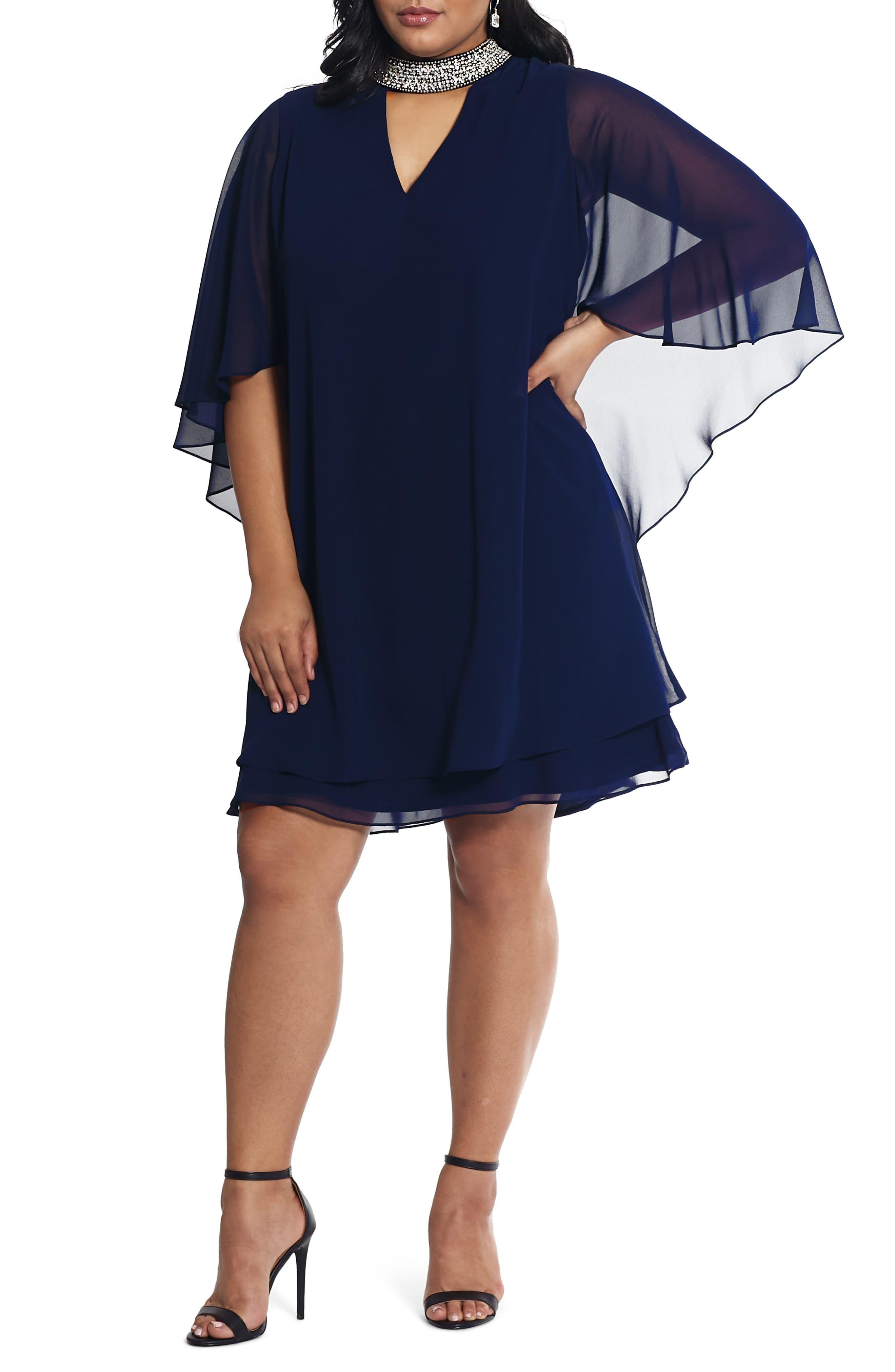 Plus Size Xscape Chiffon Cape Sleeve Cocktail Dress, Blue