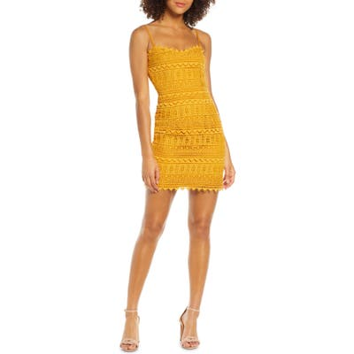 Dress The Population Gwen Embroidered Lace Body-Con Dress, Yellow