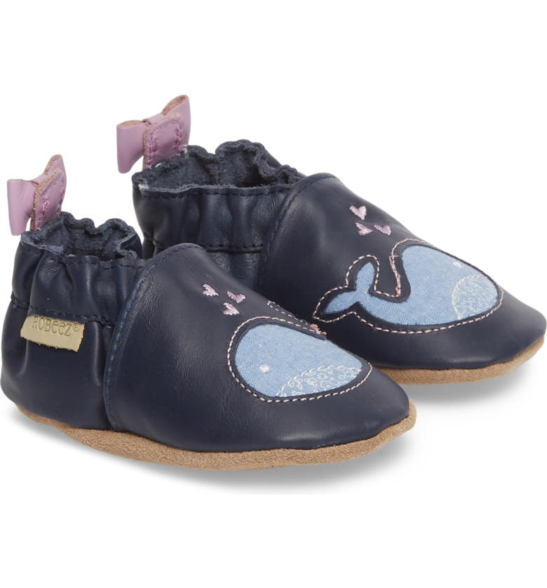 ROBEEZ<SUP>®</SUP> Poppy Whale Crib Shoe, Main, color, NAVY