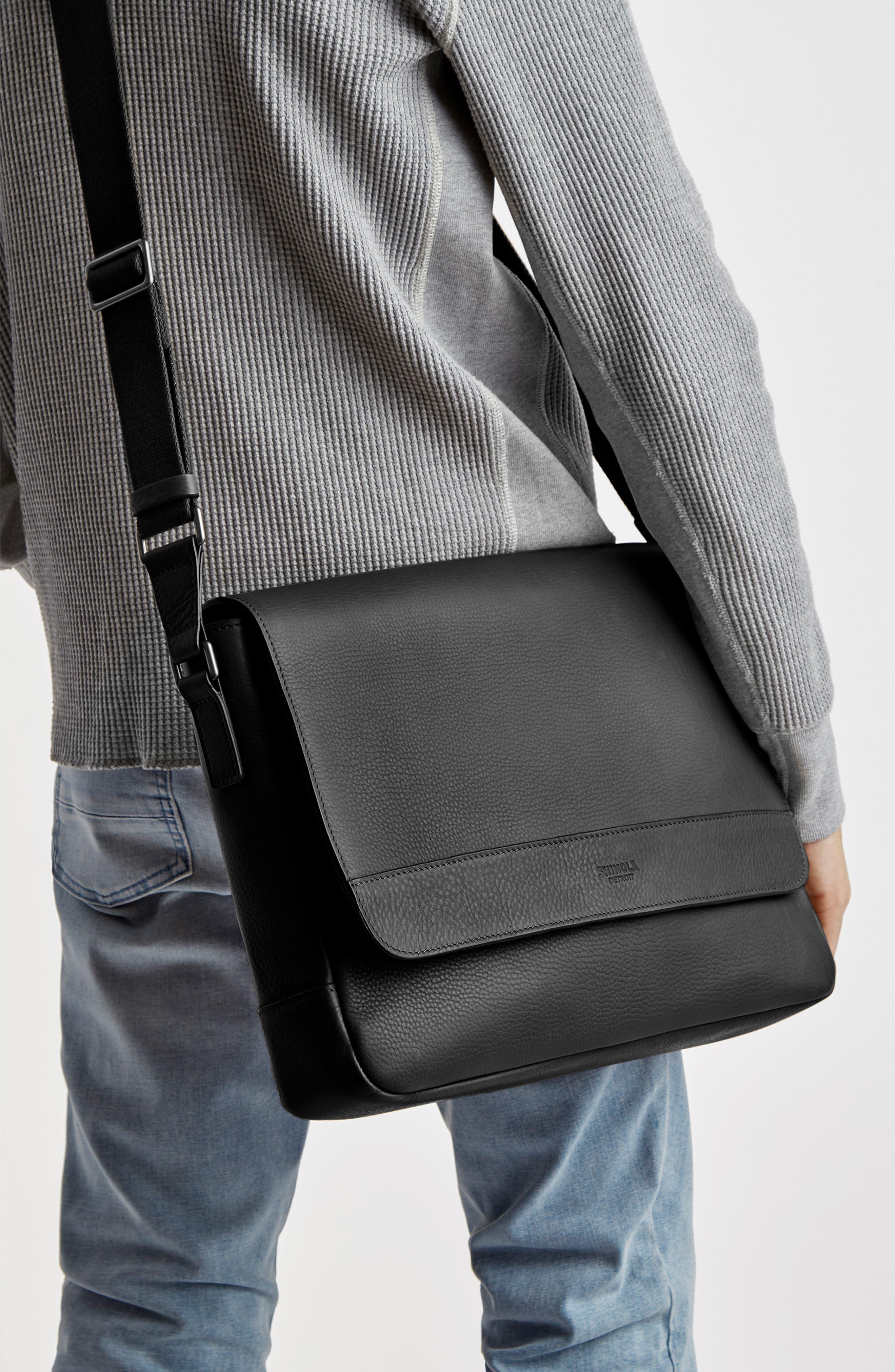,                             Slim Leather Messenger Bag,                             Alternate thumbnail 2, color,                             BLACK