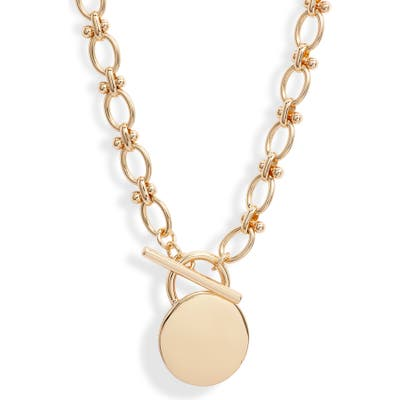 Halogen Luxe Chain Toggle Disc Necklace