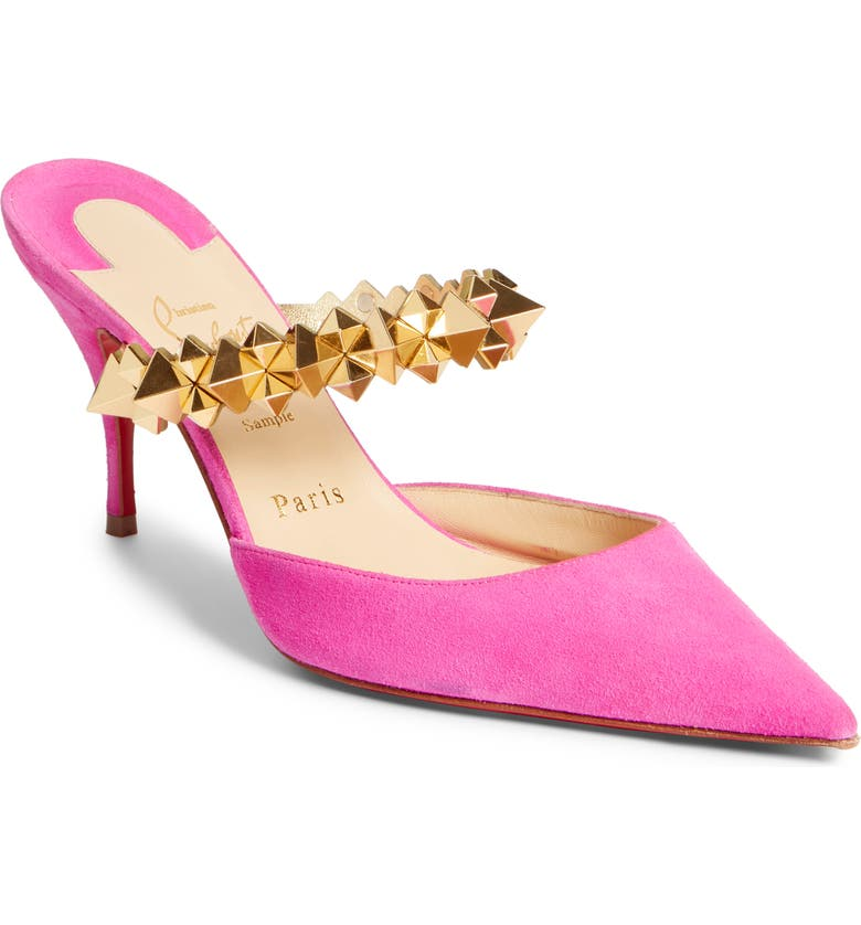 CHRISTIAN LOUBOUTIN Planet Choc Embellished Mule, Main, color, PINK/ GOLD