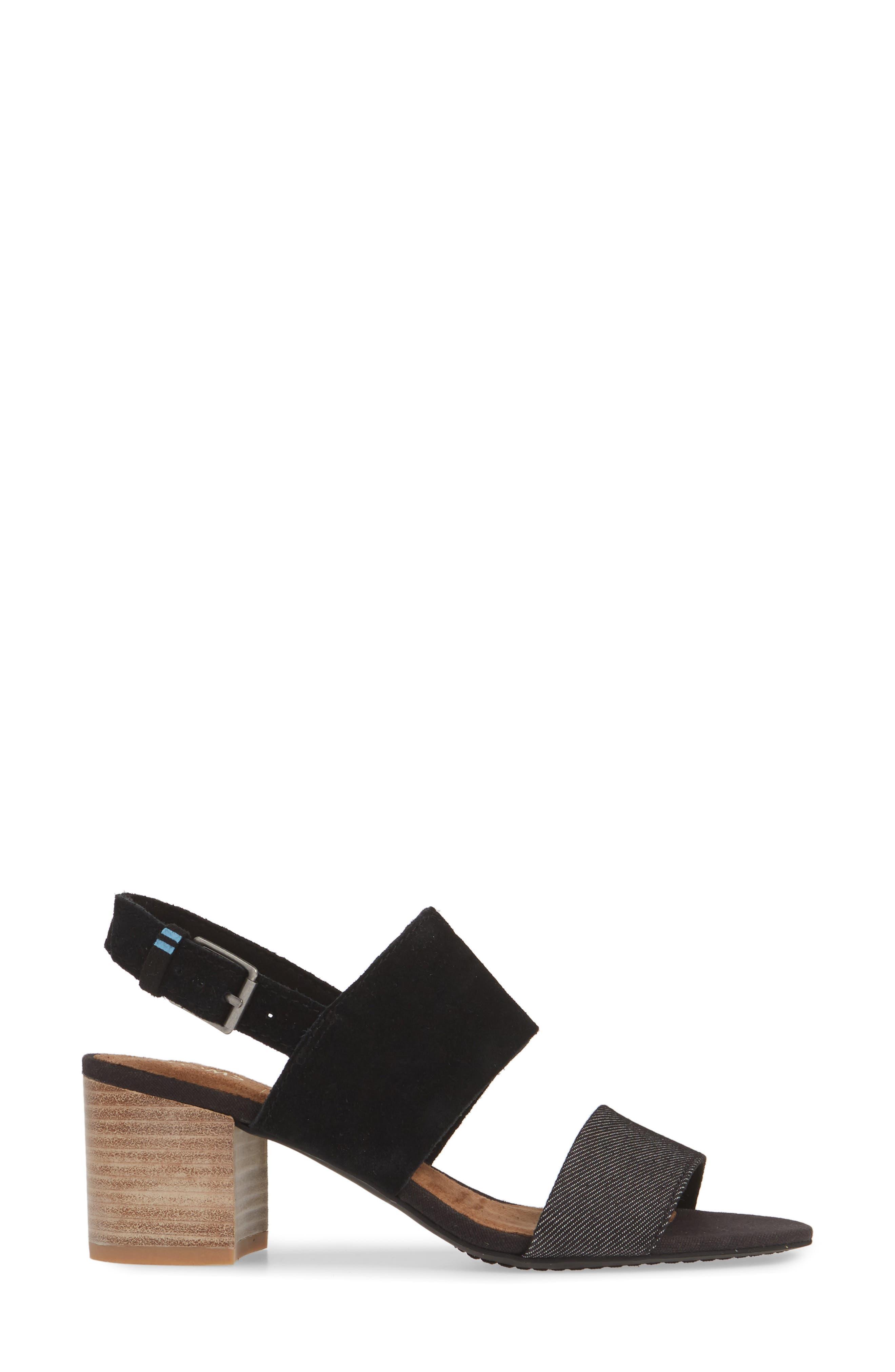 ,                             Poppy Sandal,                             Alternate thumbnail 3, color,                             BLACK/ BLACK SUEDE