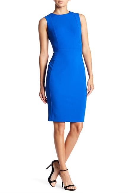 Image of Calvin Klein Solid Crepe Sheath Dress