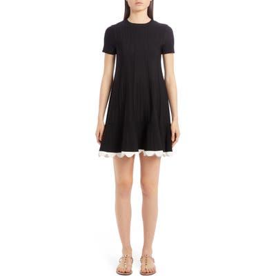 Valentino Scalloped Hem Pointelle Rib Sweater Dress, Black