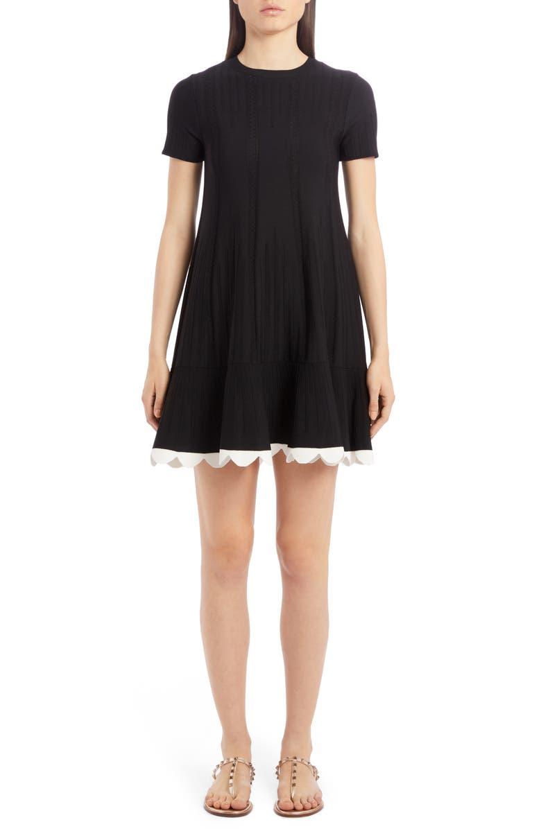 VALENTINO Scallop Hem Pointelle Rib Sweater Dress, Main, color, 001