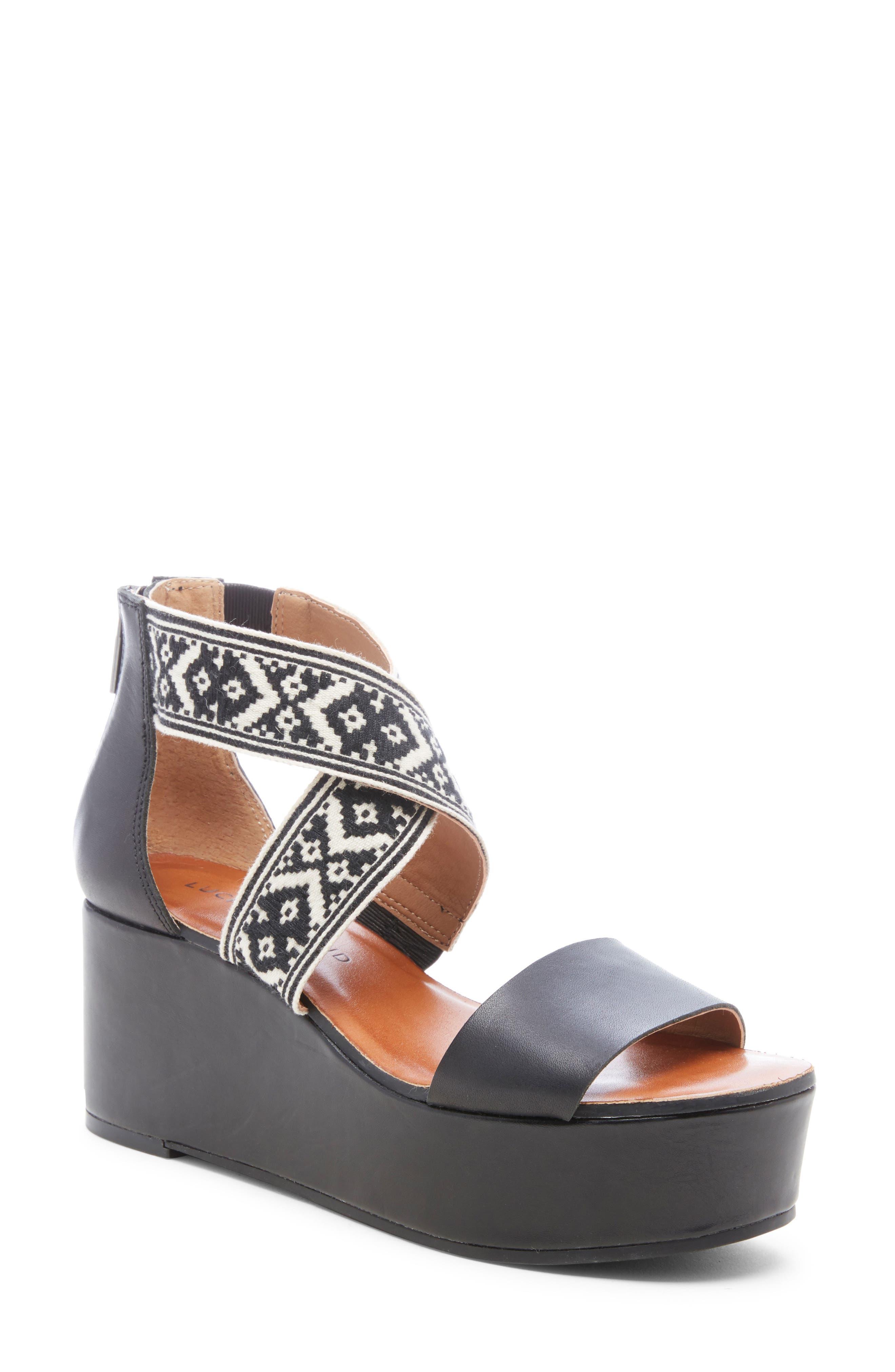 Lucky Brand Gwindolin Platform Wedge Sandal- Black