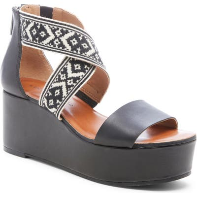 Lucky Brand Gwindolin Platform Wedge Sandal, Black