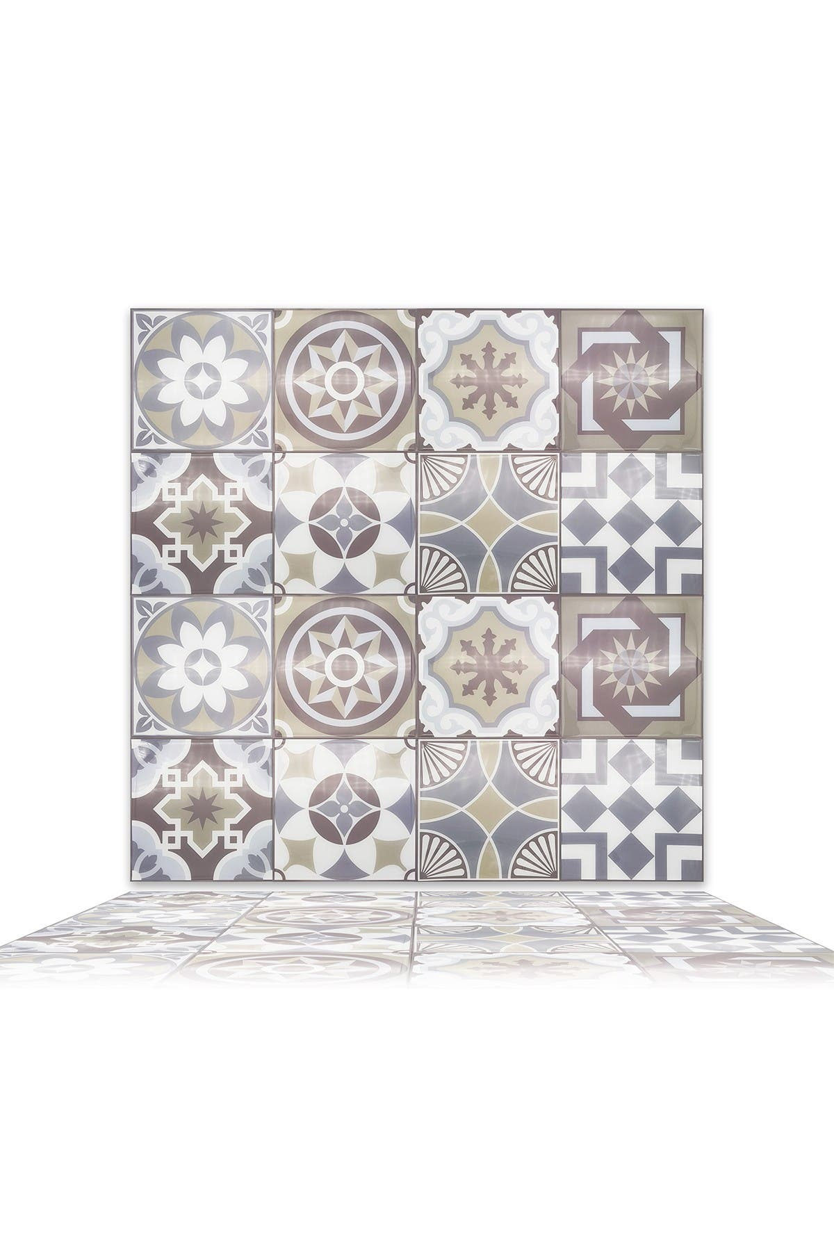 """Image of WalPlus Limestone Spanish Glossy 3D Sticker Tile - 15cm (6"""") - 16-Piece in a pack"""