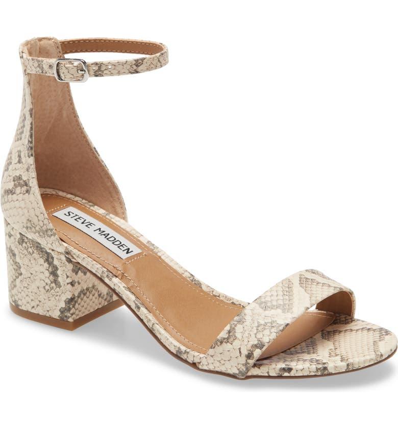 STEVE MADDEN Irenee Ankle Strap Sandal, Main, color, LIGHT BEIGE SNAKE