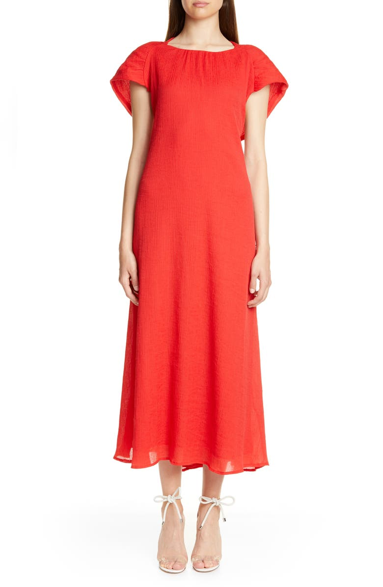 CULT GAIA Artemisia Cape Back Midi Dress, Main, color, RUBY