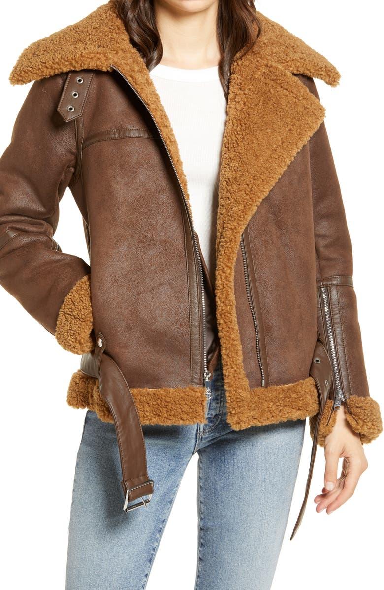 SAM EDELMAN Faux Shearling Moto Jacket, Main, color, BROWN