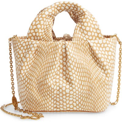 Staud Lera Snake Embossed Leather Top Handle Bag - Beige