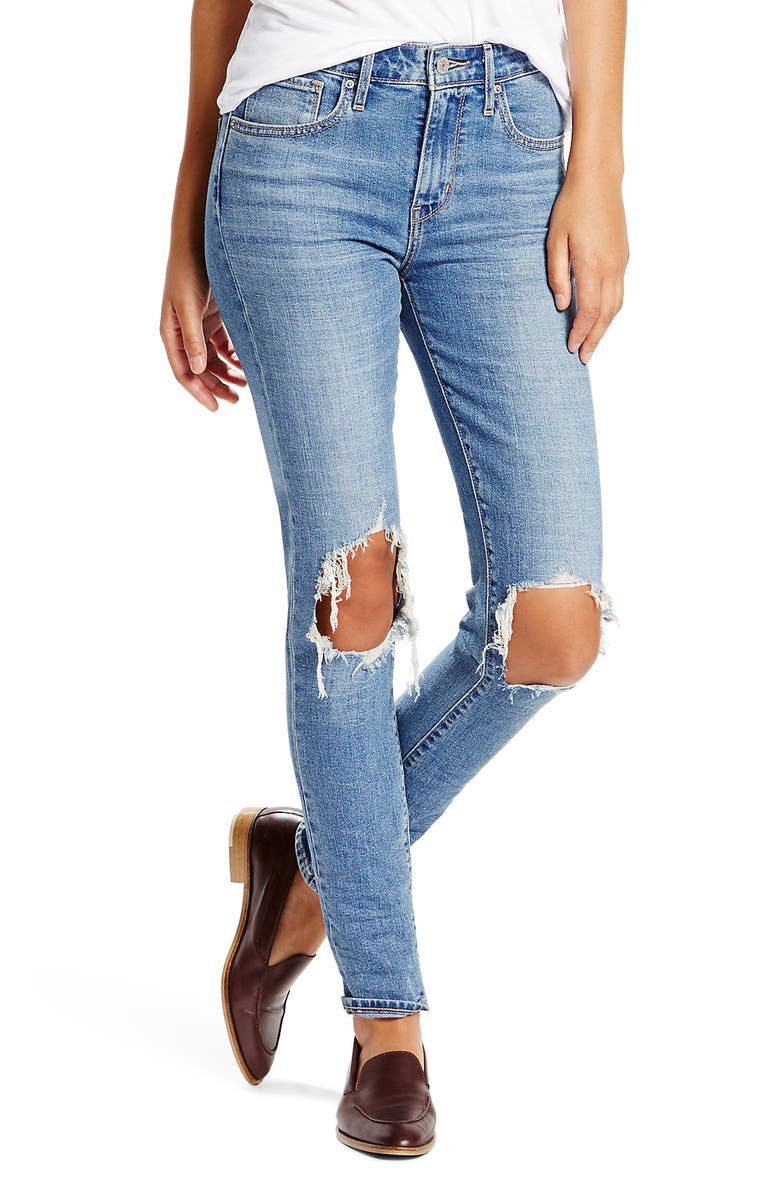 LEVI'S<SUP>®</SUP> 721 Ripped High Waist Skinny Jeans, Main, color, 400