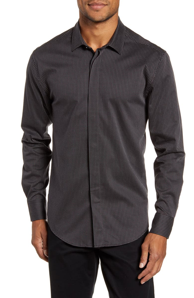 VINCE CAMUTO Port Slim Fit Dobby Dot Stretch Button-Up Shirt, Main, color, 006